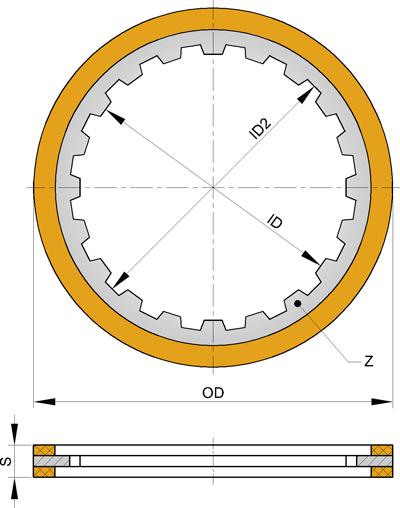 Фрикционный диск с внутренними зубьями